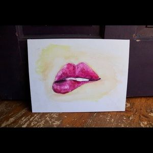 Custom Art Flat Canvas Board Painted Lips Original